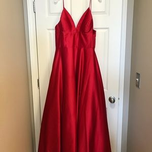 Betsy and Adam red satin ball gown. WITH POCKETS!